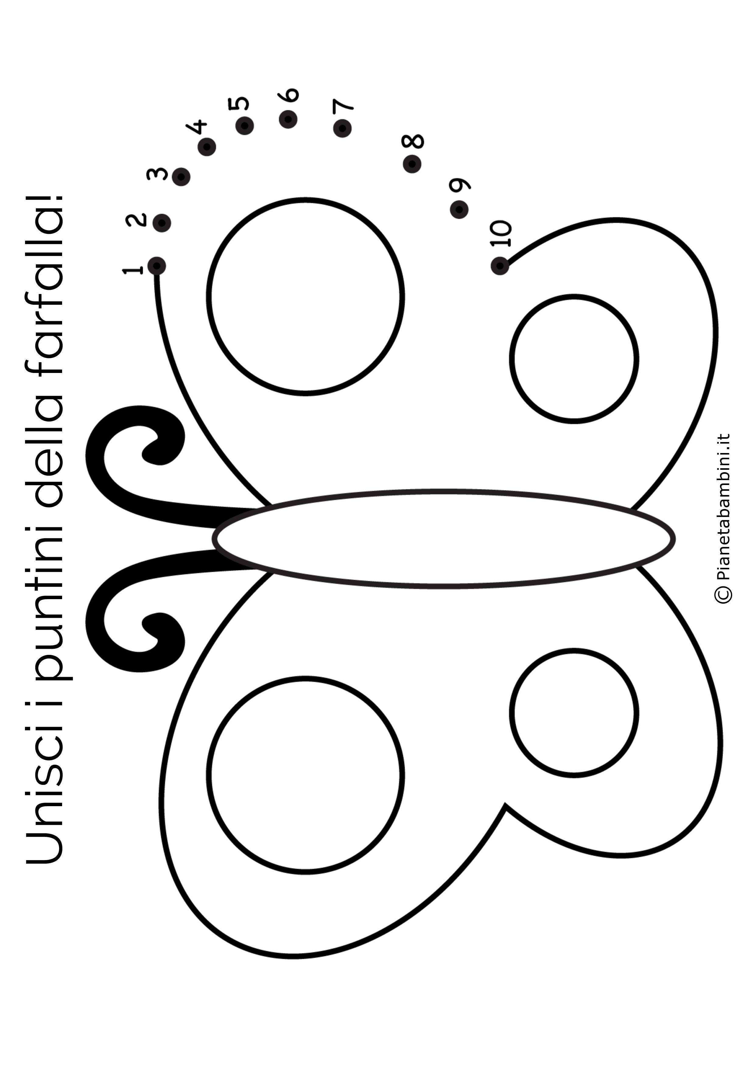 Disegno unisci i puntini farfalla