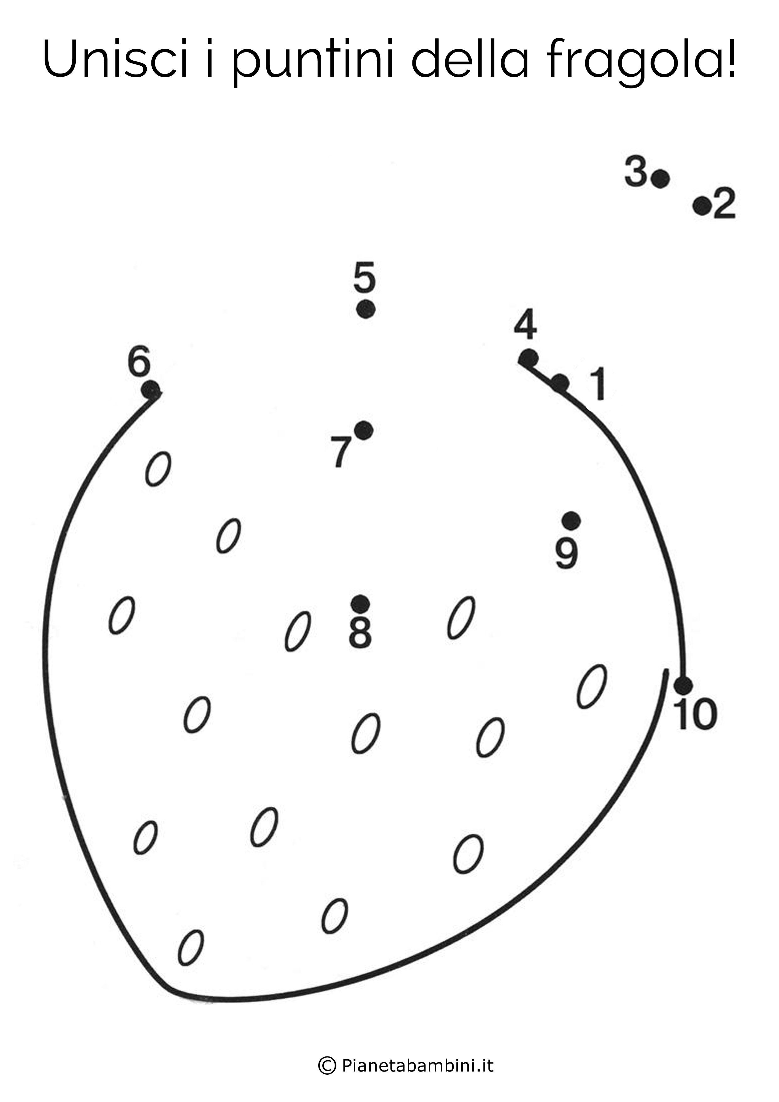 Disegno unisci i puntini fragola