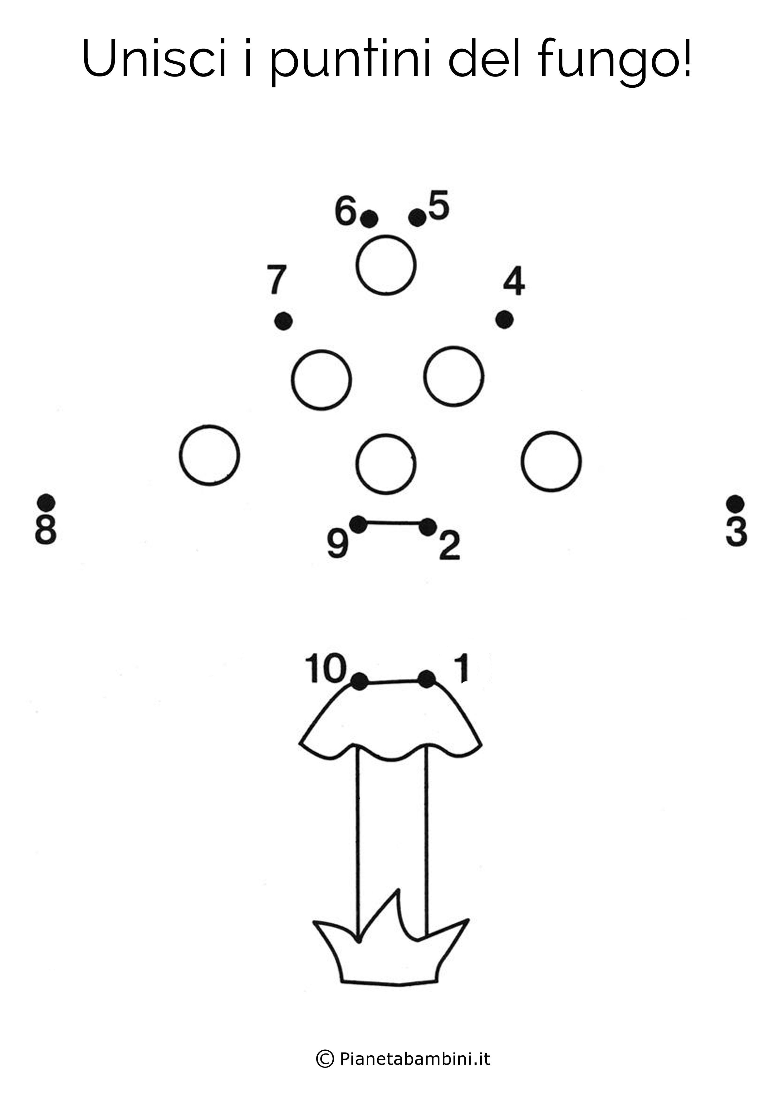 Disegno unisci i puntini fungo