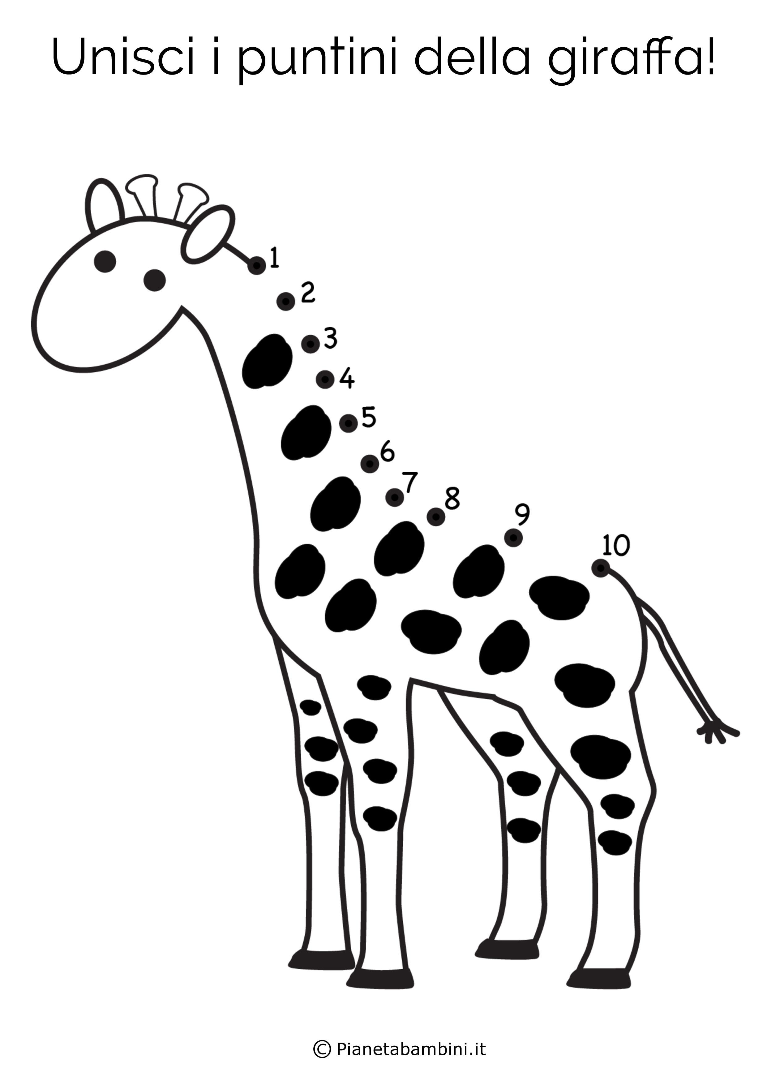 Disegno unisci i puntini giraffa
