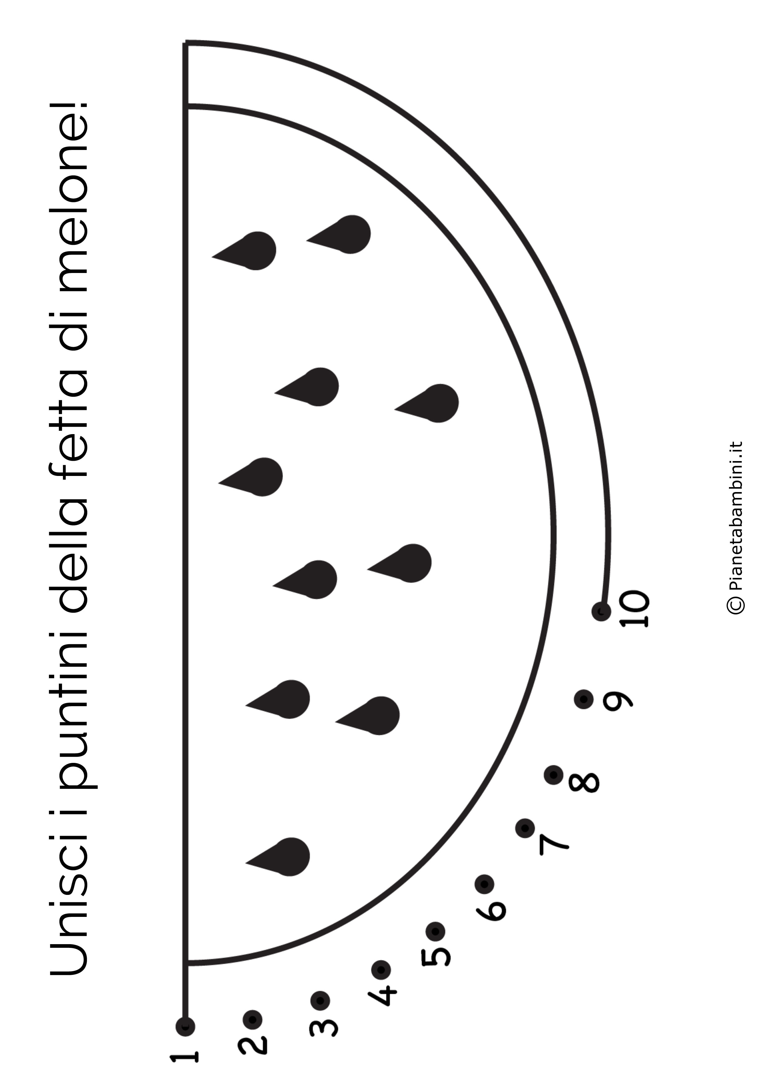 Disegno unisci i puntini melone