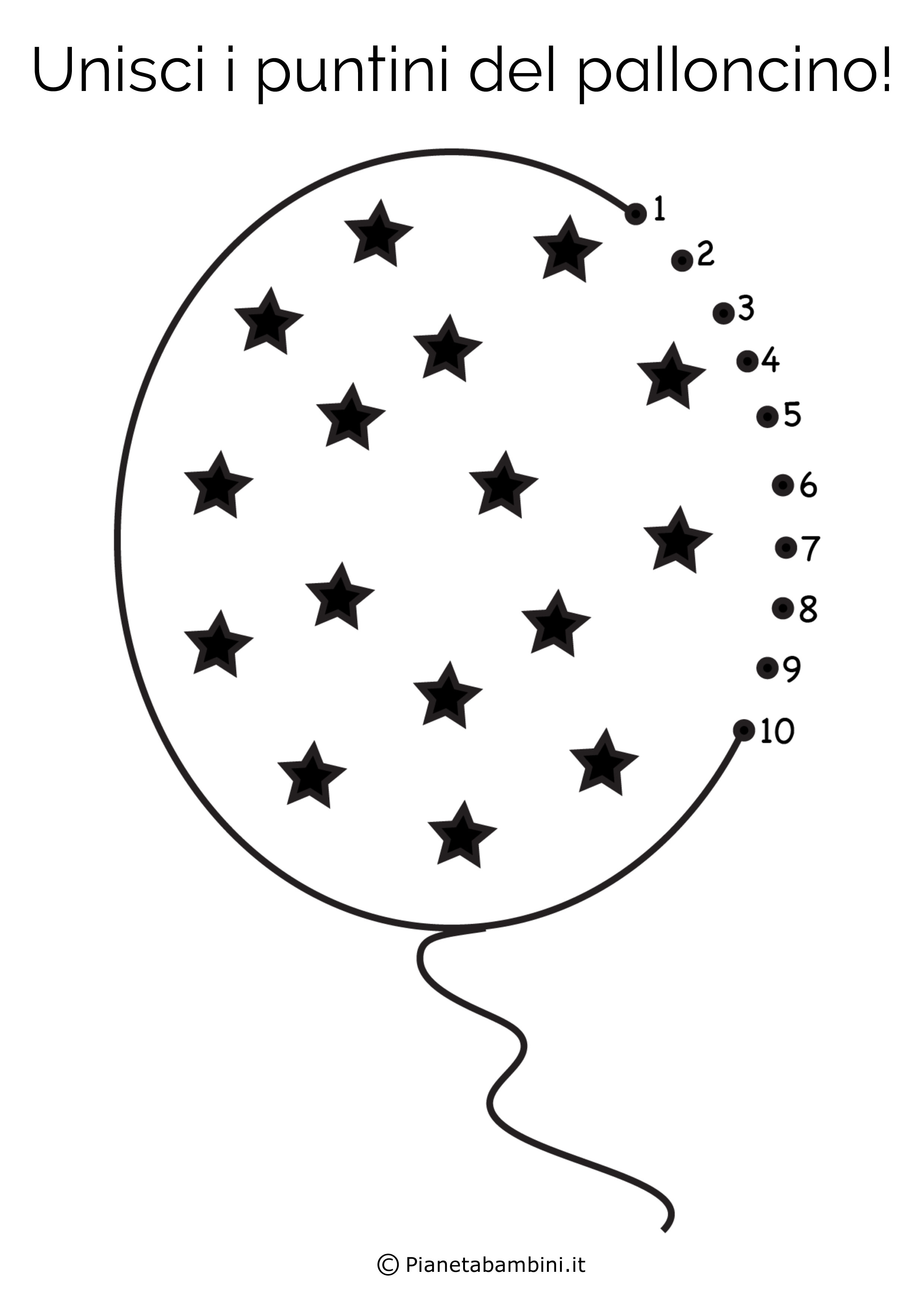 Disegno unisci i puntini palloncino