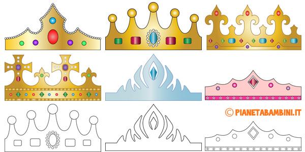Sagome per creare corone di carta da stampare gratis