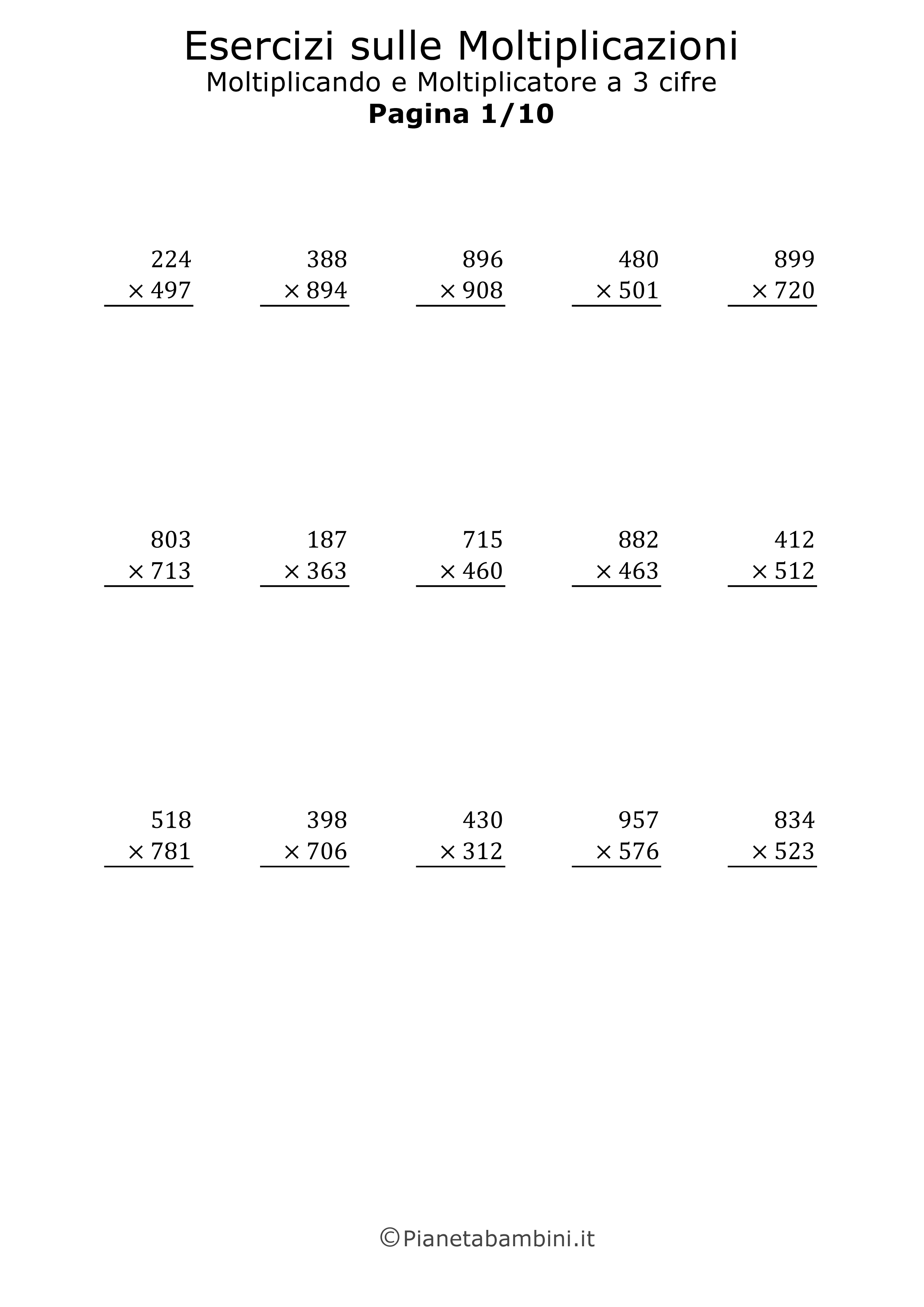 Ben noto Esercizi sulle Moltiplicazioni in Colonna a Tre Cifre  AI05