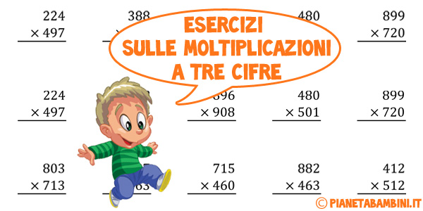 Esercizi sulle moltiplicazioni a tre cifre da stampare con soluzioni