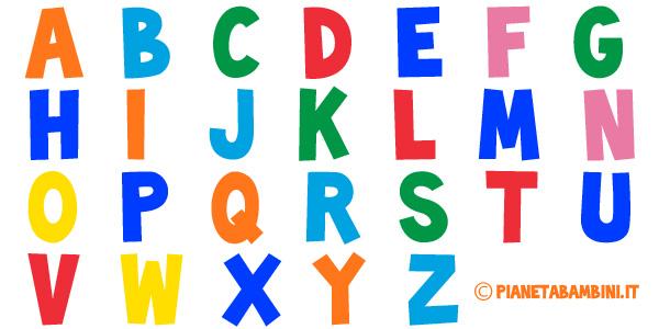 Lettere dell'alfabeto da colorare e grandi