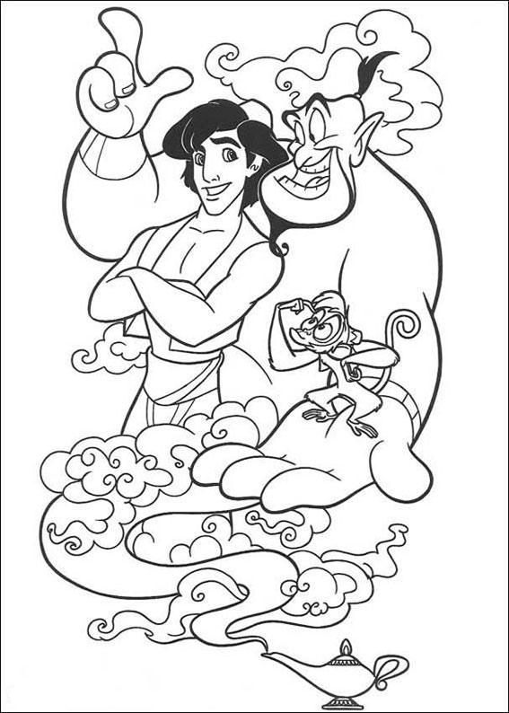 Disegni della principessa jasmine e aladdin da colorare