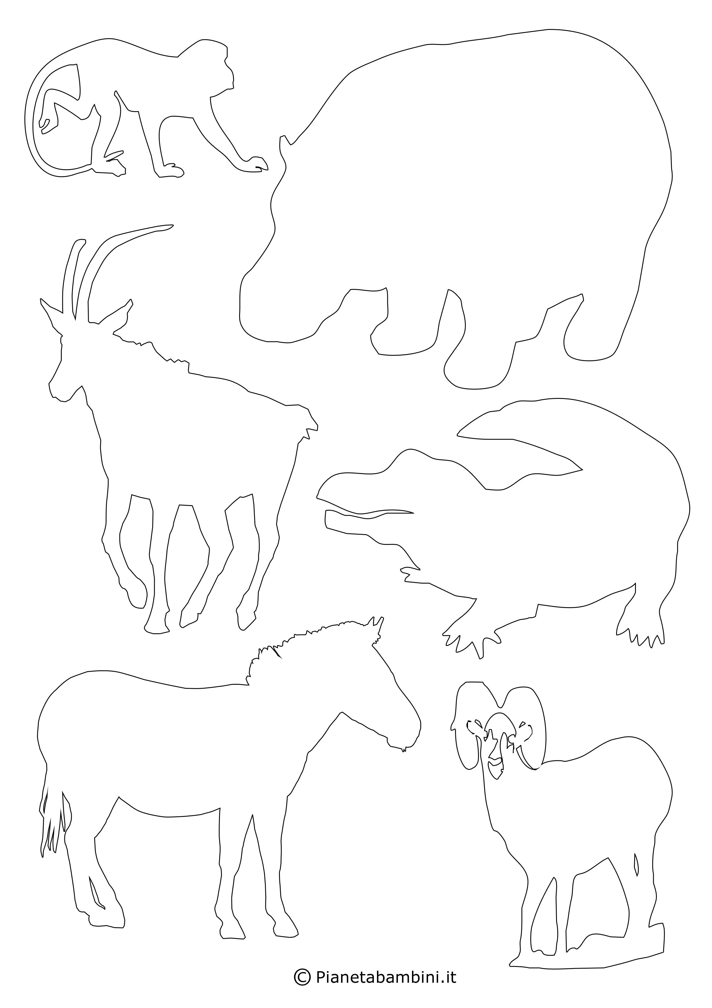 Sagome di 90 animali da stampare colorare e ritagliare for Disegni da stampare colorare e ritagliare