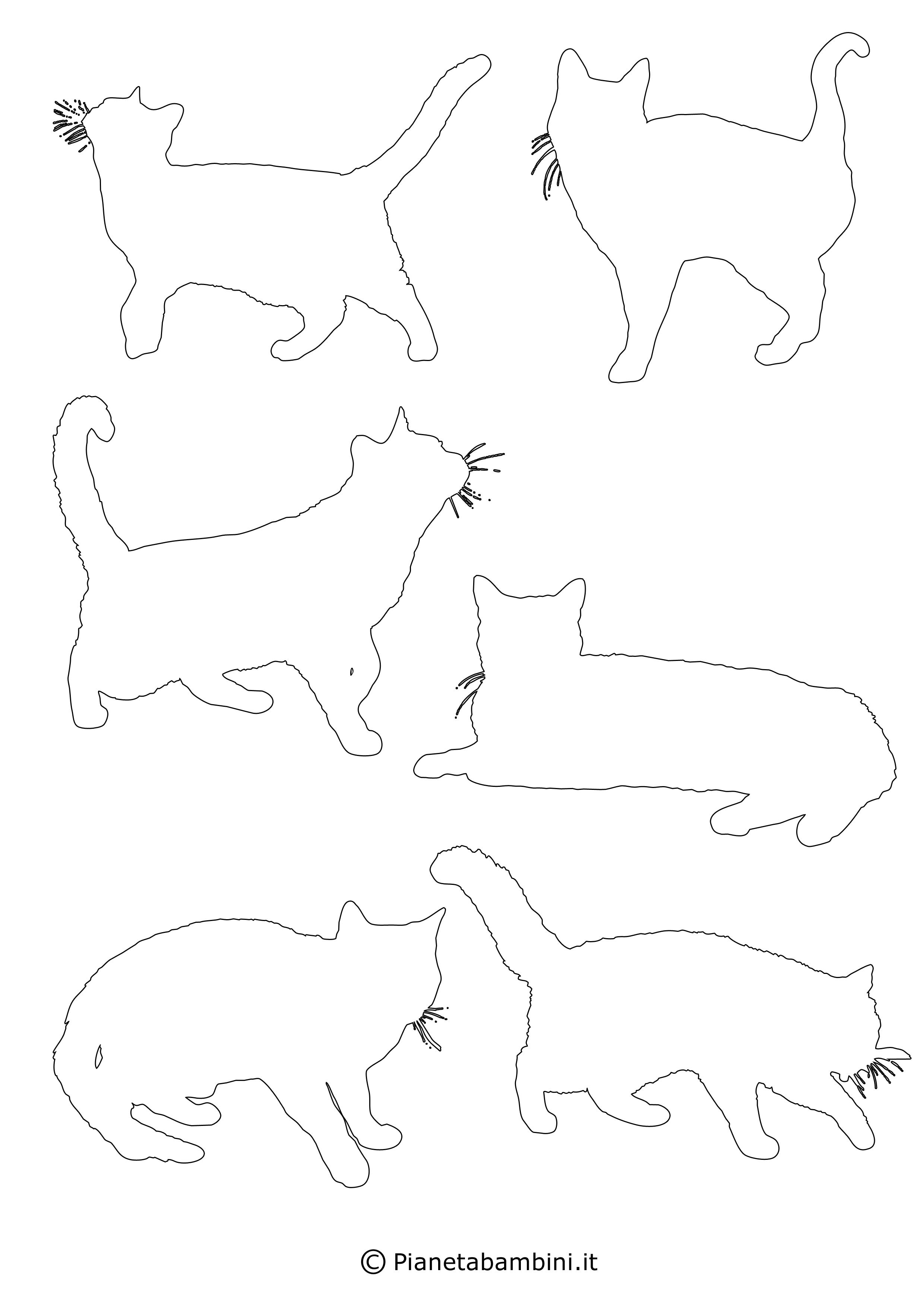 Sagome gatti piccole da ritagliare 4