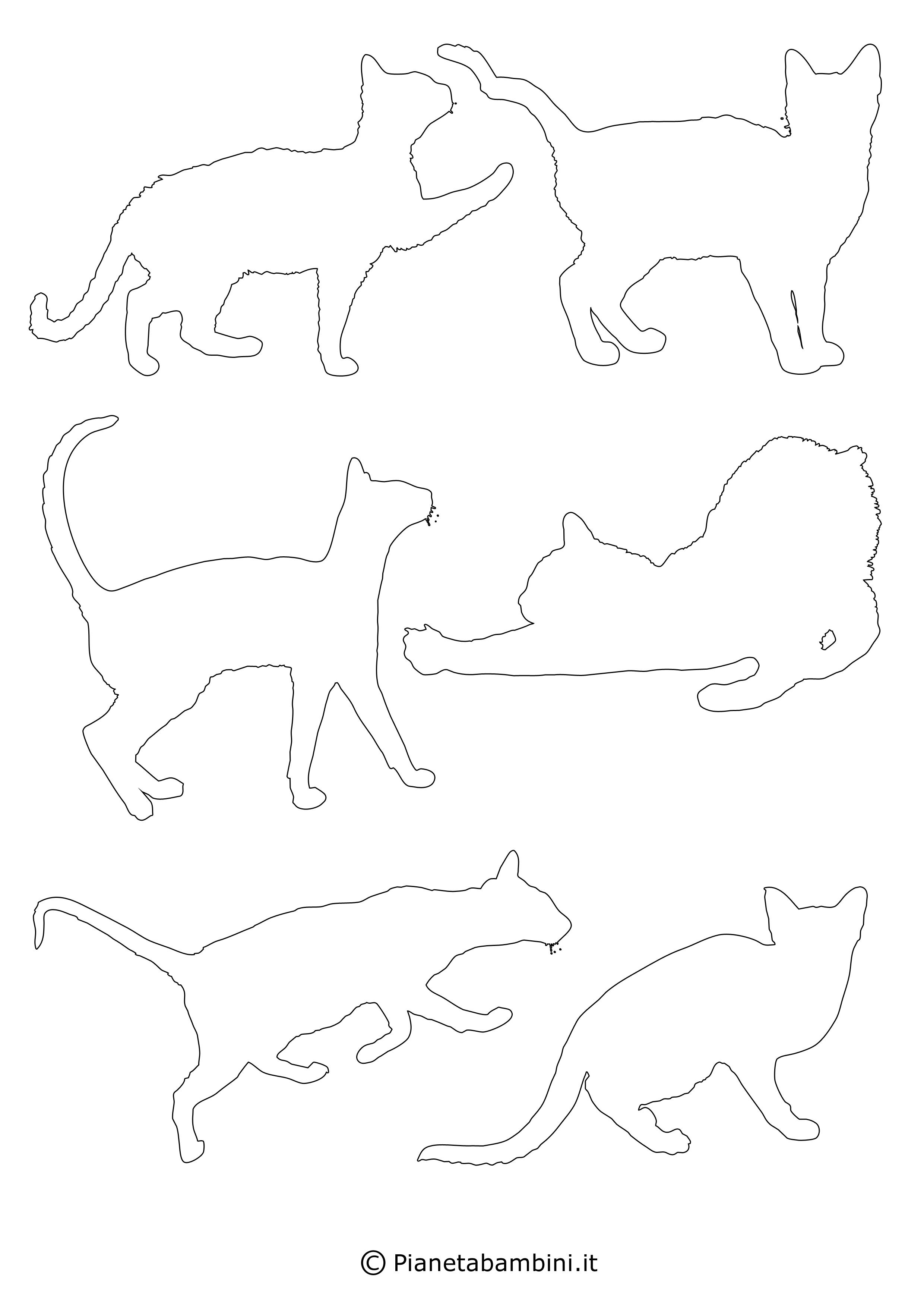 Sagome gatti piccole da ritagliare 5
