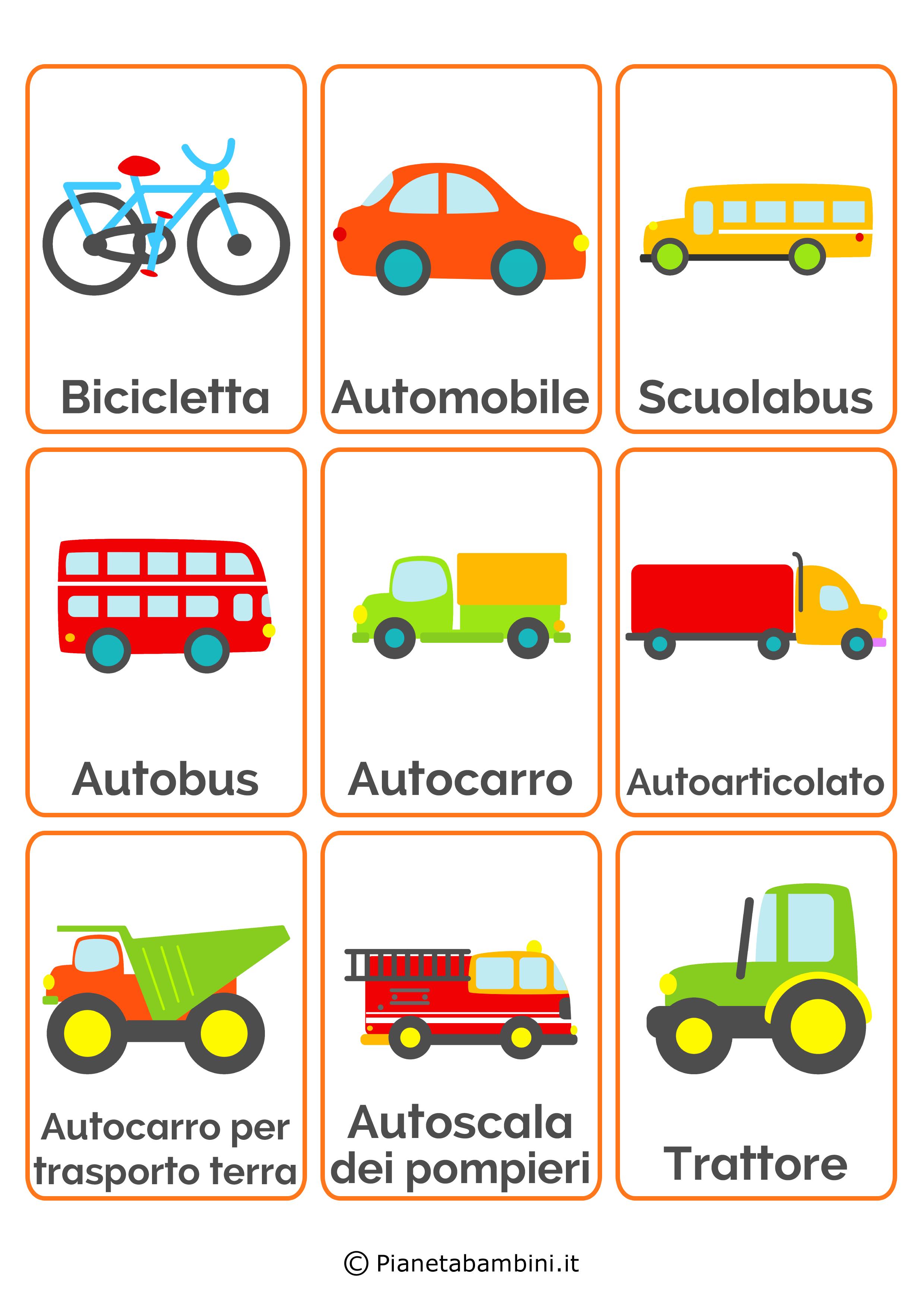 Carte tematiche per bambini i mezzi di trasporto - Immagini in francese per bambini ...