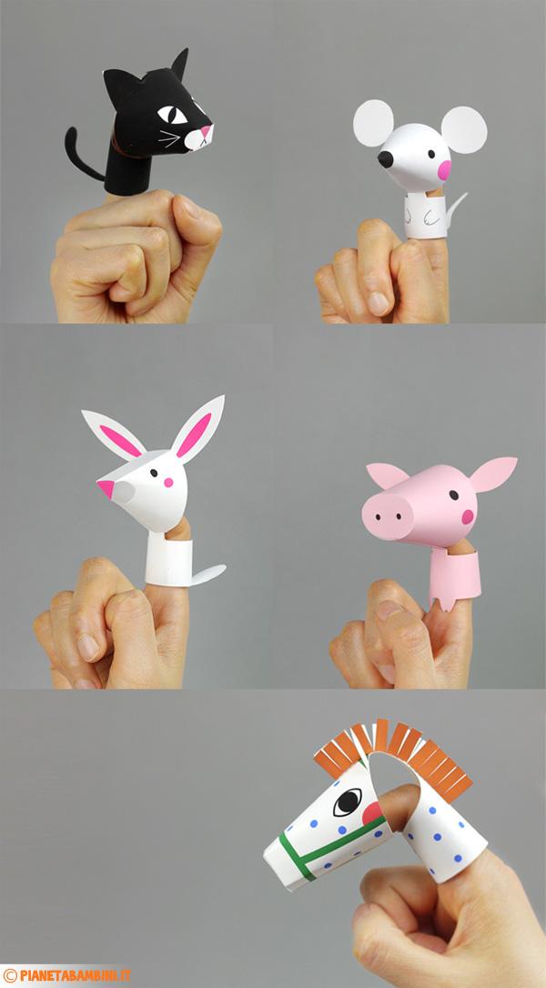 Marionette da dita ispirare agli animali da fattoria