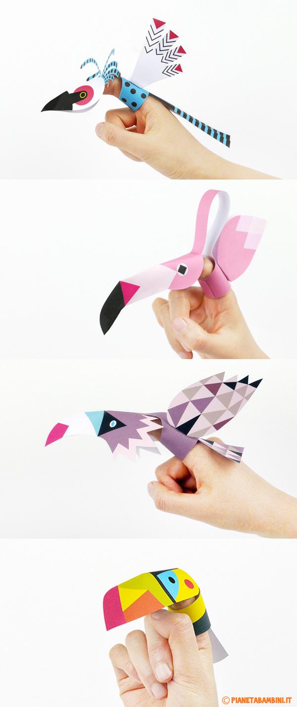 Immagine della marionette da dita a forma di uccelli