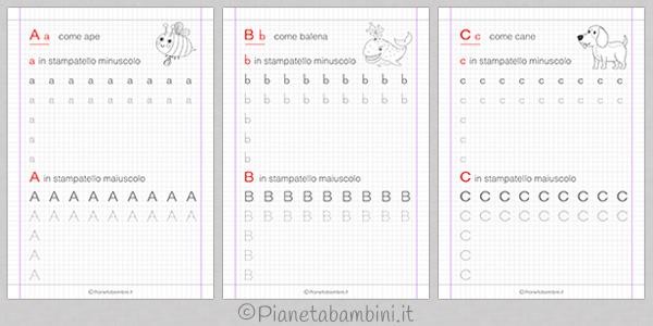 Schede per imparare a scrivere le lettere dell'alfabeto