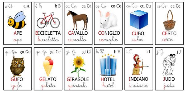 Carte tematiche per bambini le lettere dell 39 alfabeto for Sillabe da stampare e ritagliare