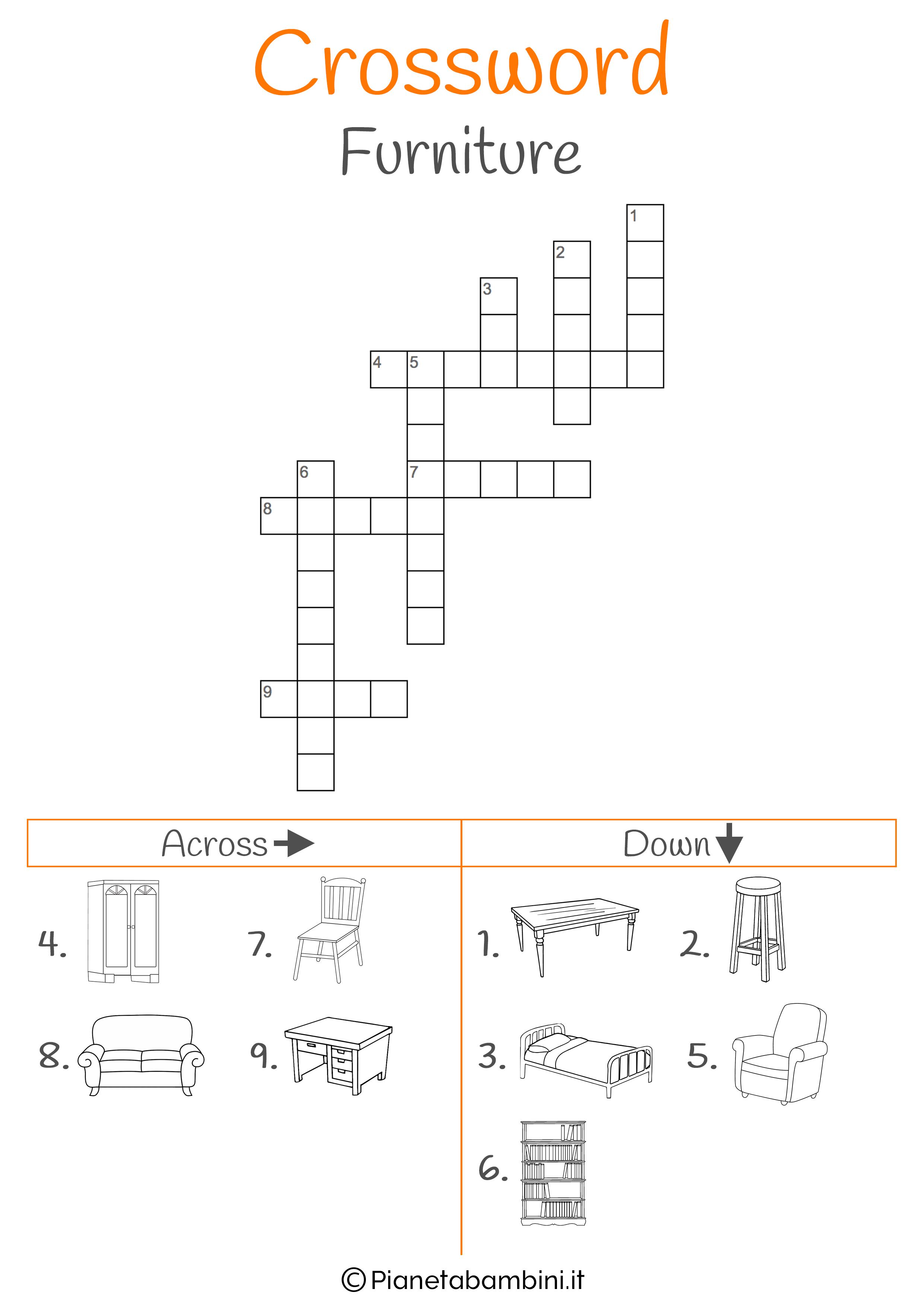 Cruciverba in inglese sull'arredamento