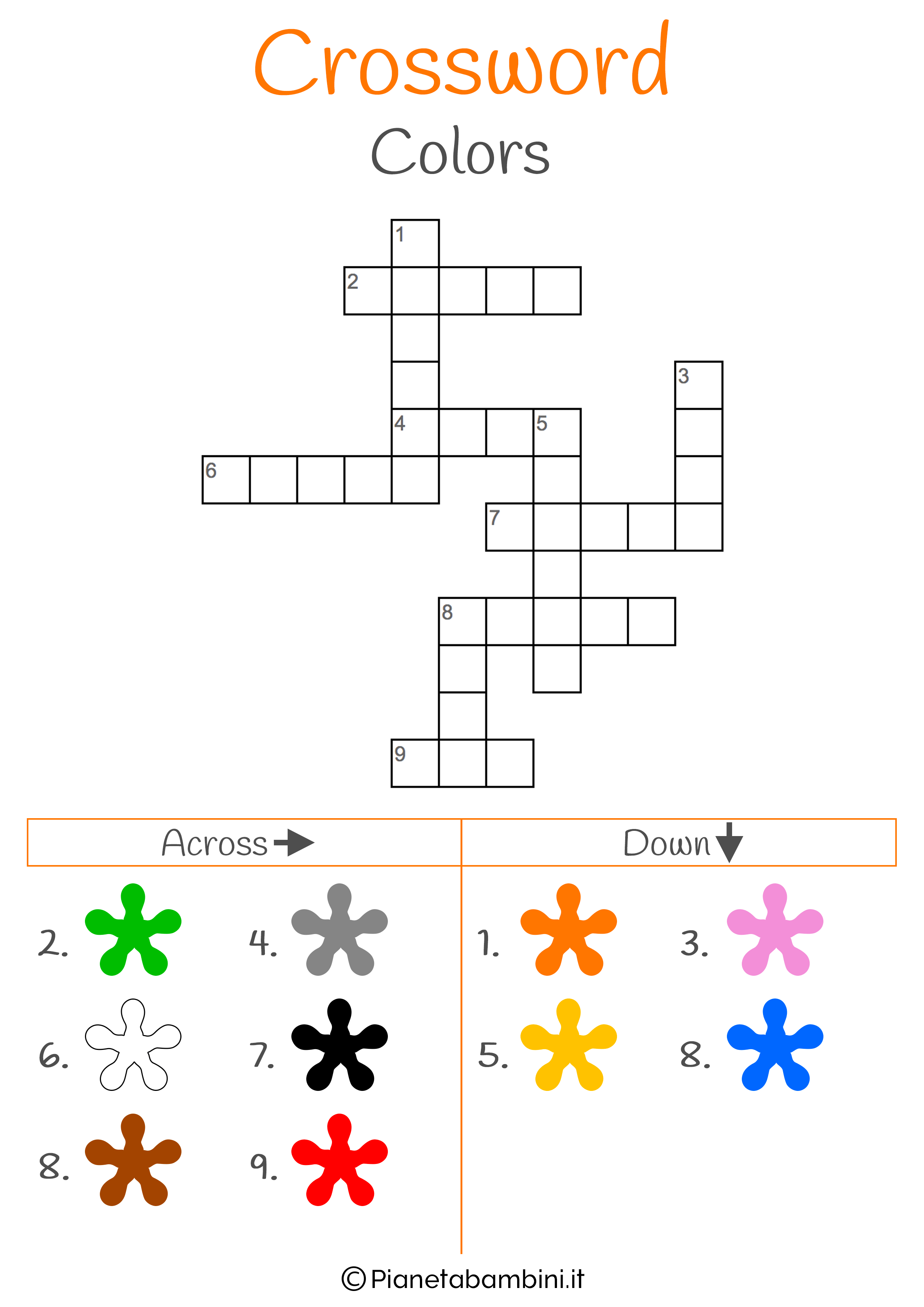 Cruciverba in inglese sui colori