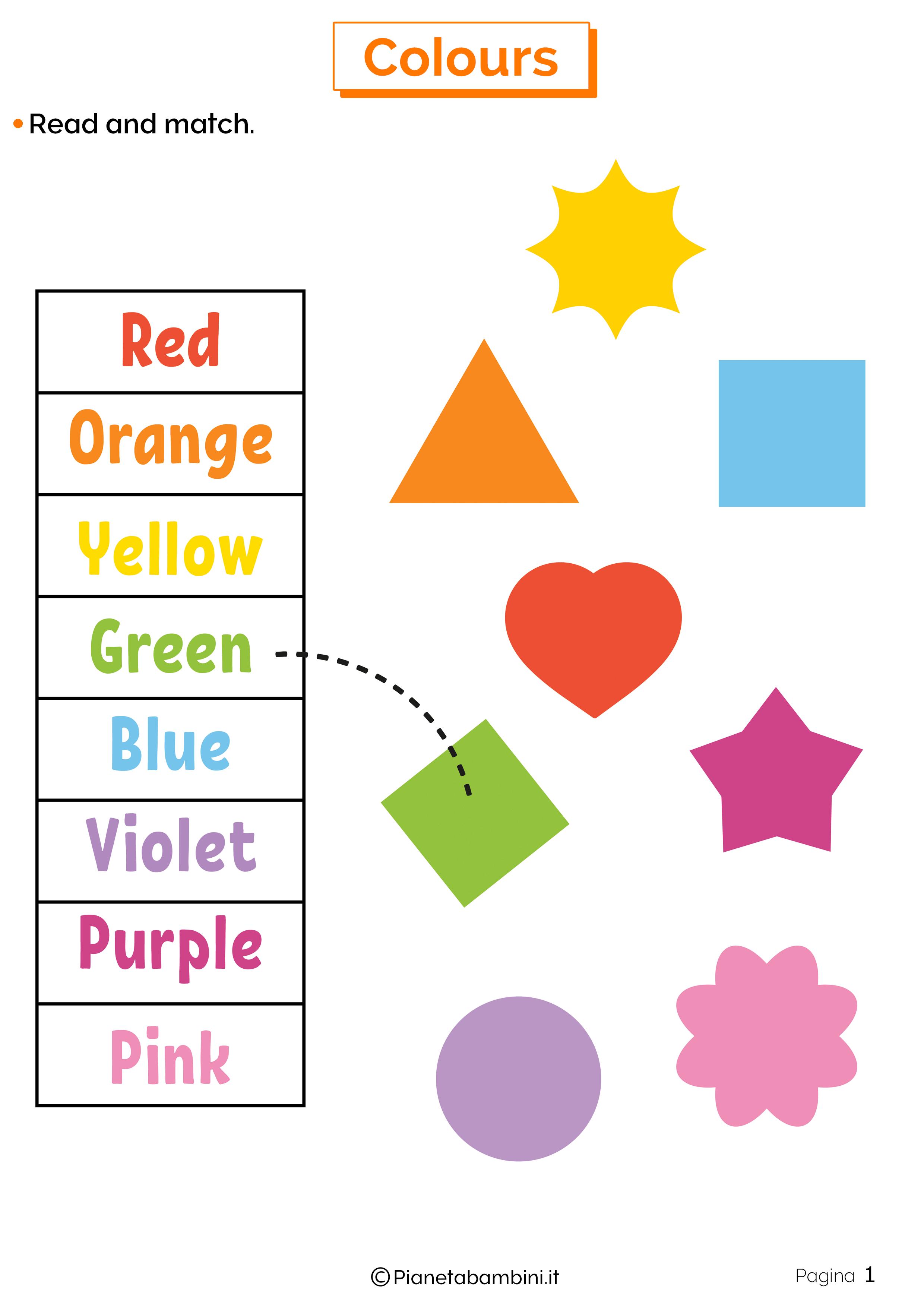 Scheda sui colori in inglese 1