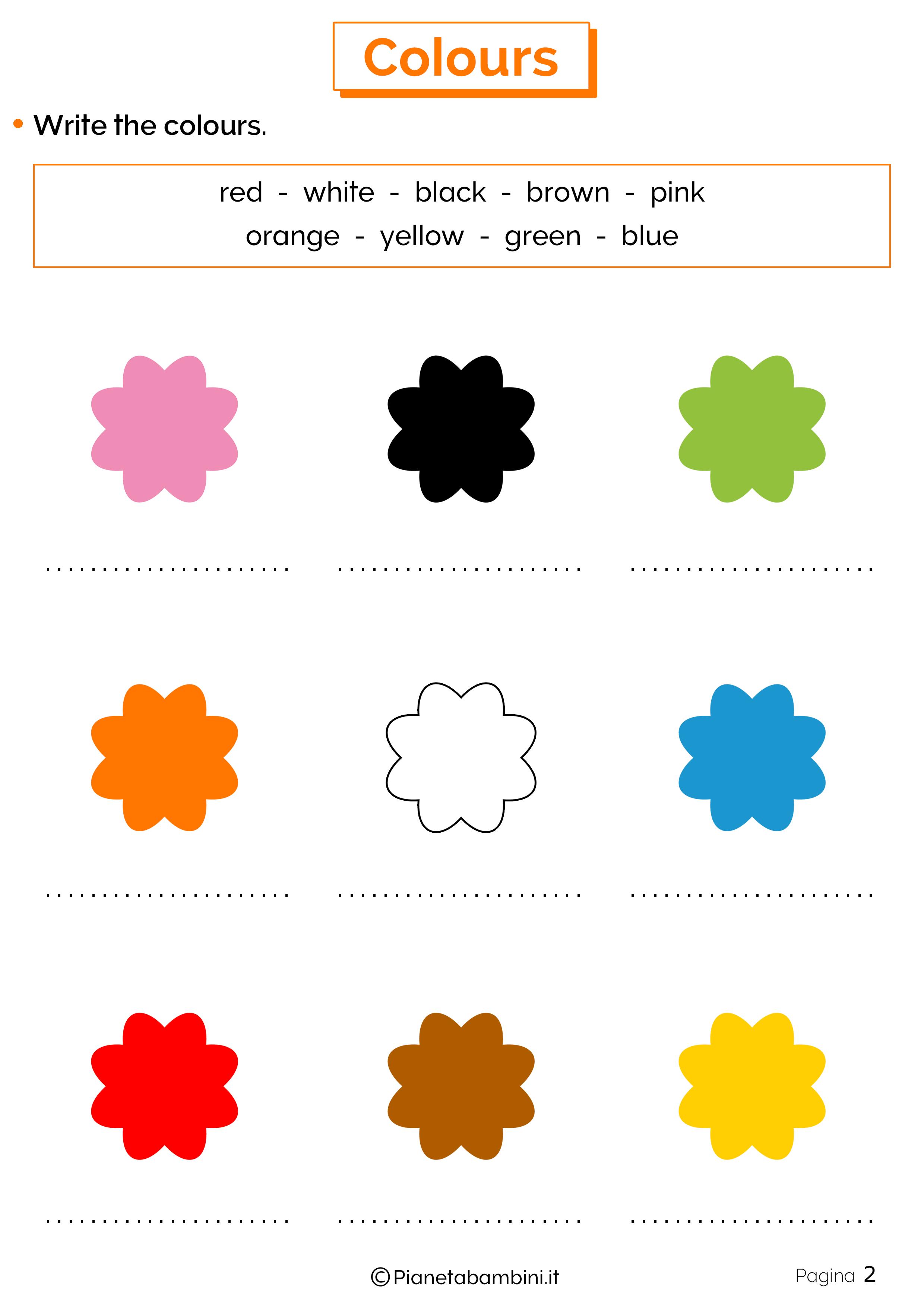 Scheda sui colori in inglese 2
