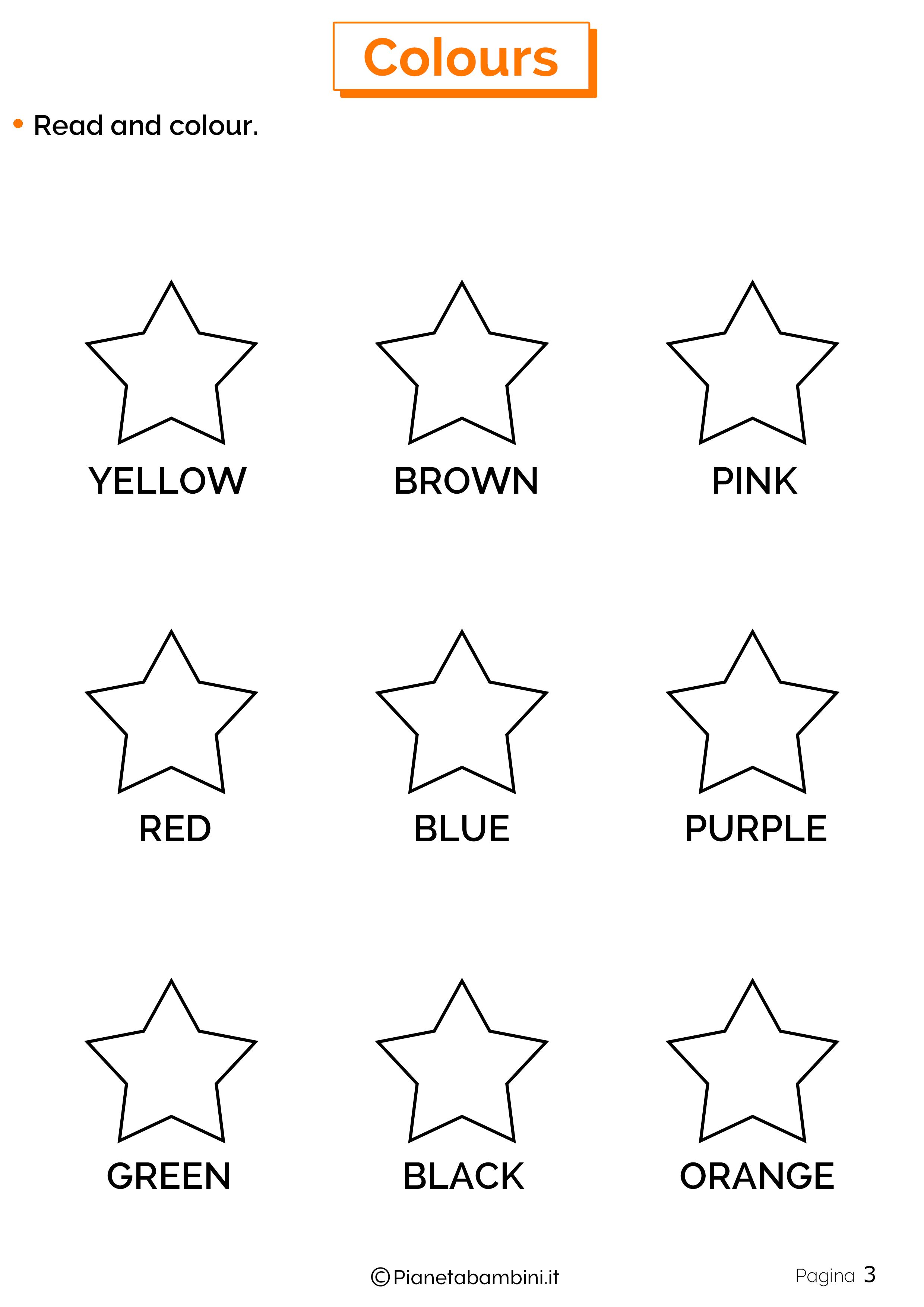 Scheda sui colori in inglese 3