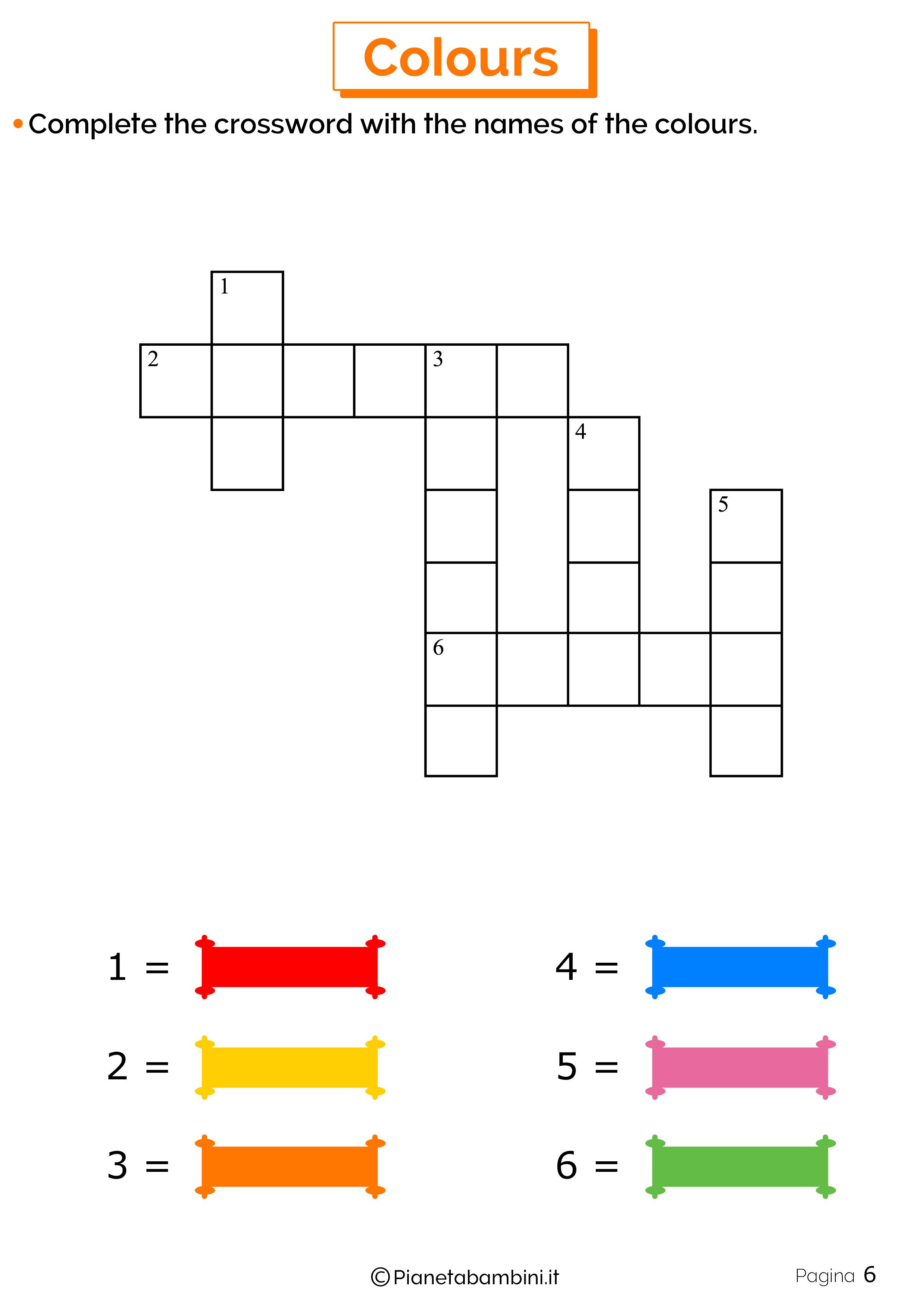 Scheda sui colori in inglese 6