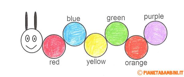 Schede didattiche da stampare per imparare i colori in inglese