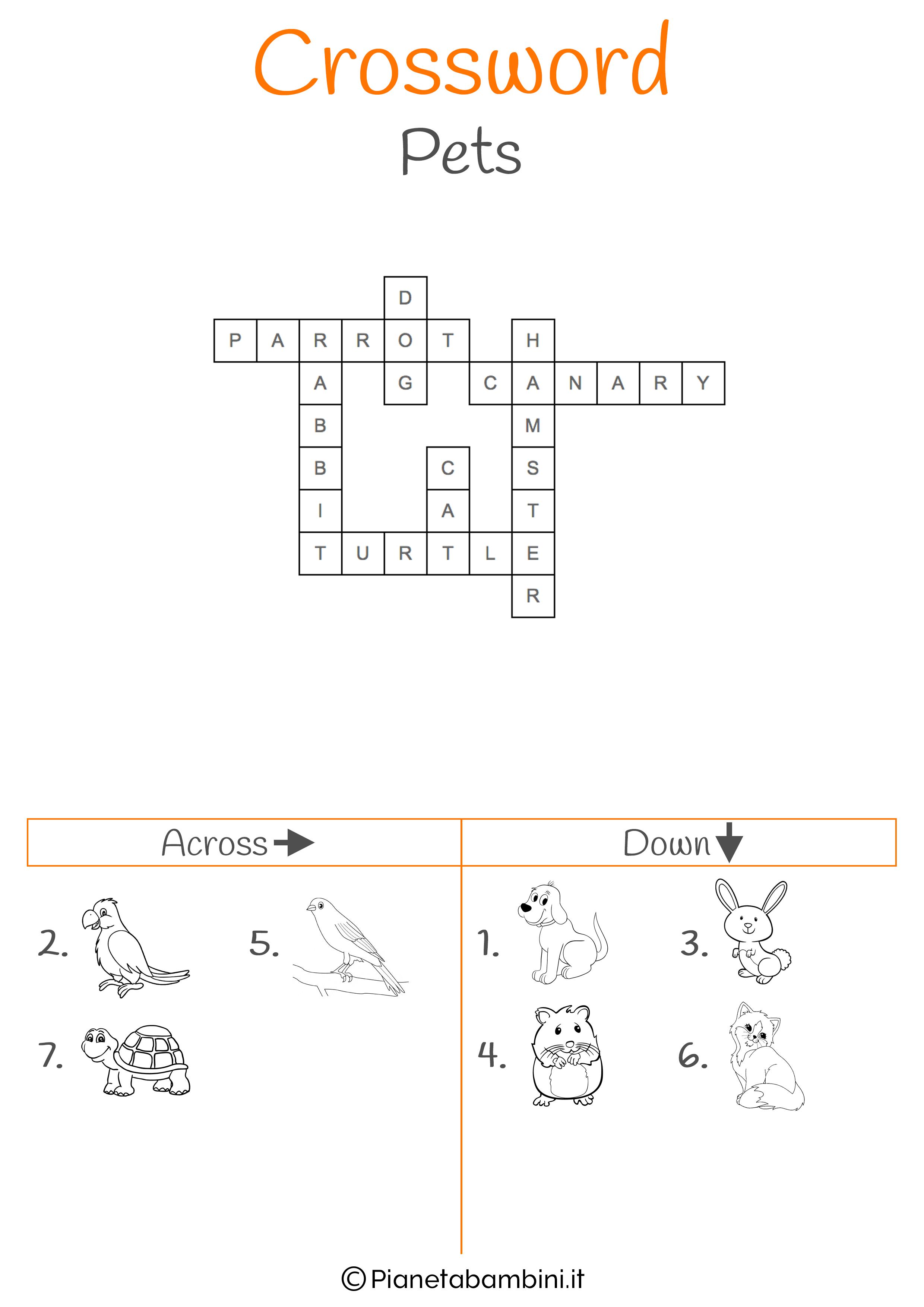 Soluzione al cruciverba in inglese sugli animali domestici