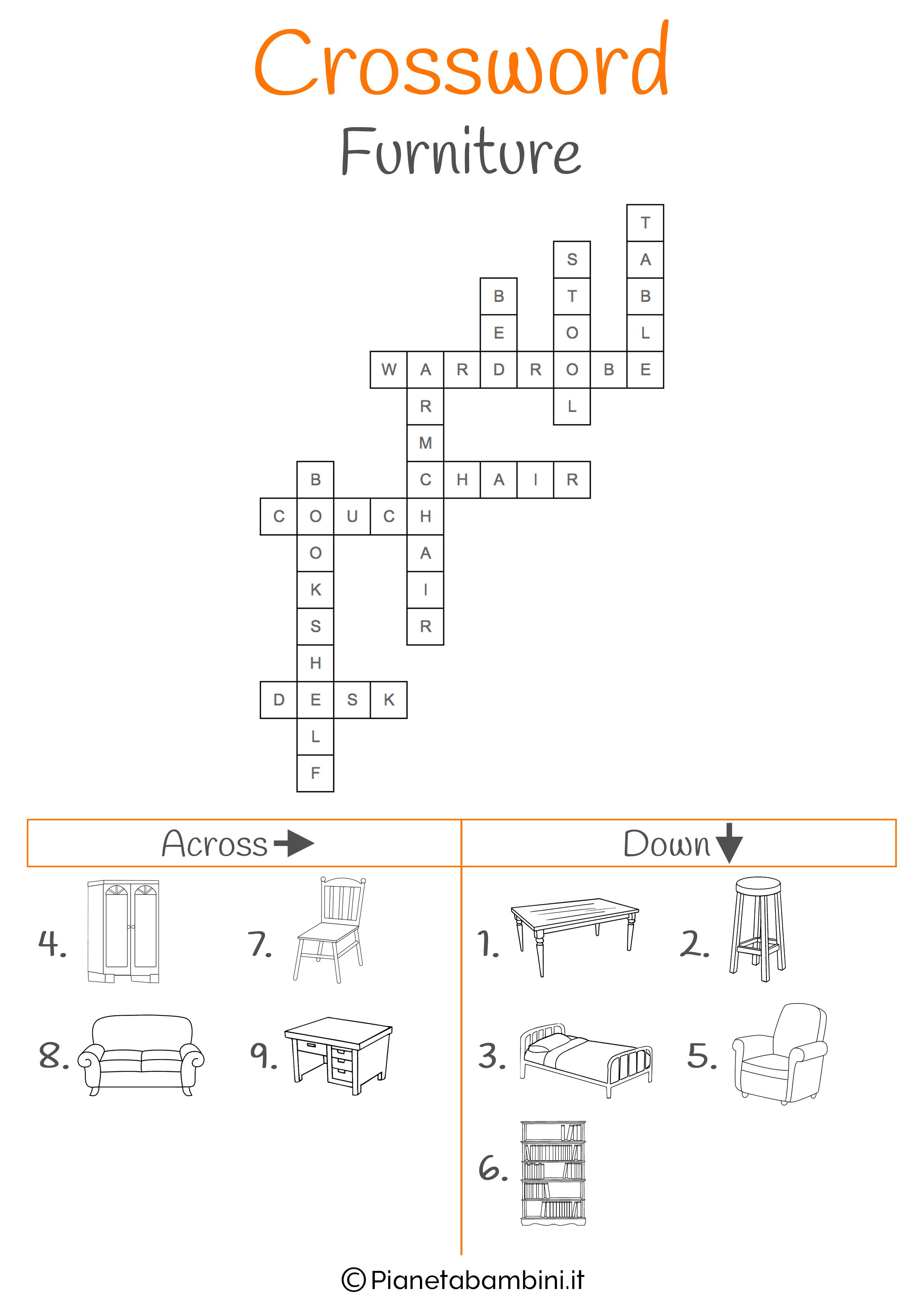 Soluzione al cruciverba in inglese sull'arredamento