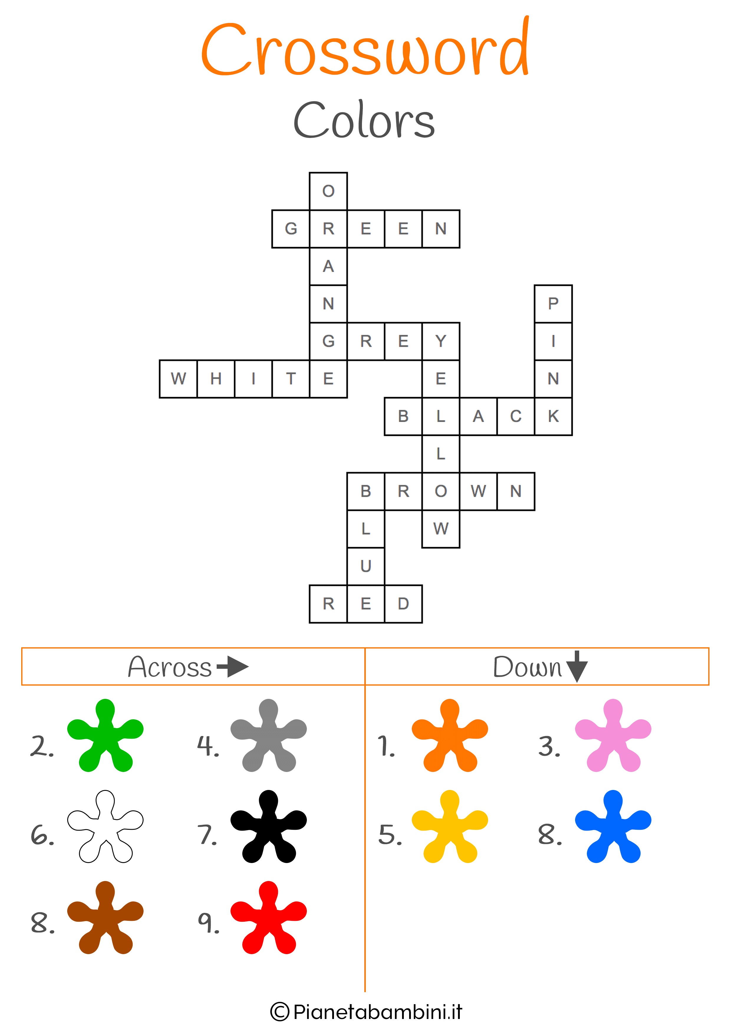 Soluzione al cruciverba in inglese sui colori