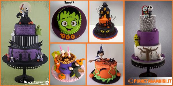Torte di Halloween con decorazioni in pasta di zucchero