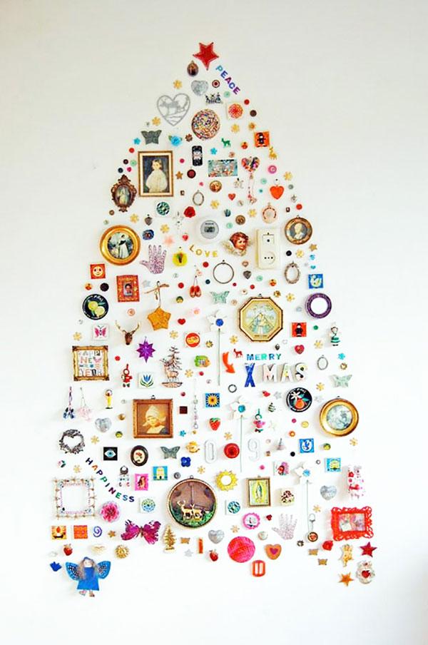 Albero di Natale da parete da creare con ciondoli e oggetti
