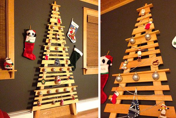 Come creare un albero di Natale da parete fai da te con bacchette di legno