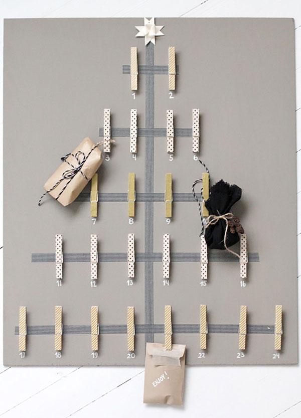 Albero di Natale da parte da creare con le mollette