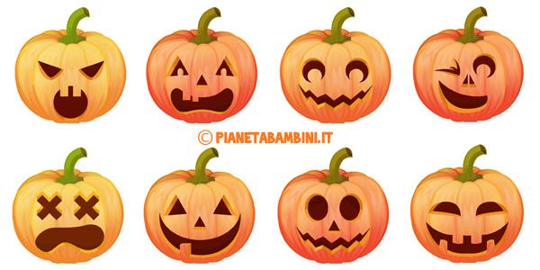 Immagini di zucche di halloween da stampare e ritagliare Disegni halloween da colorare gratis