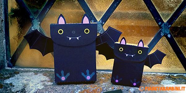 Scatoline a forma di pipistrello come lavoretto per Halloween