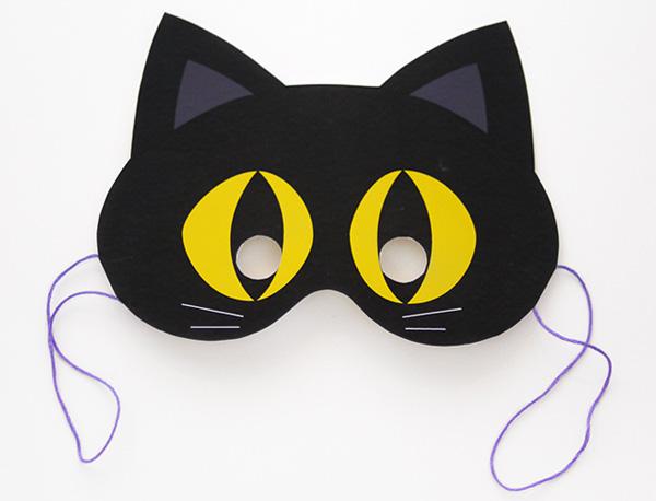 Maschera del gatto nero da stampare e ritagliare