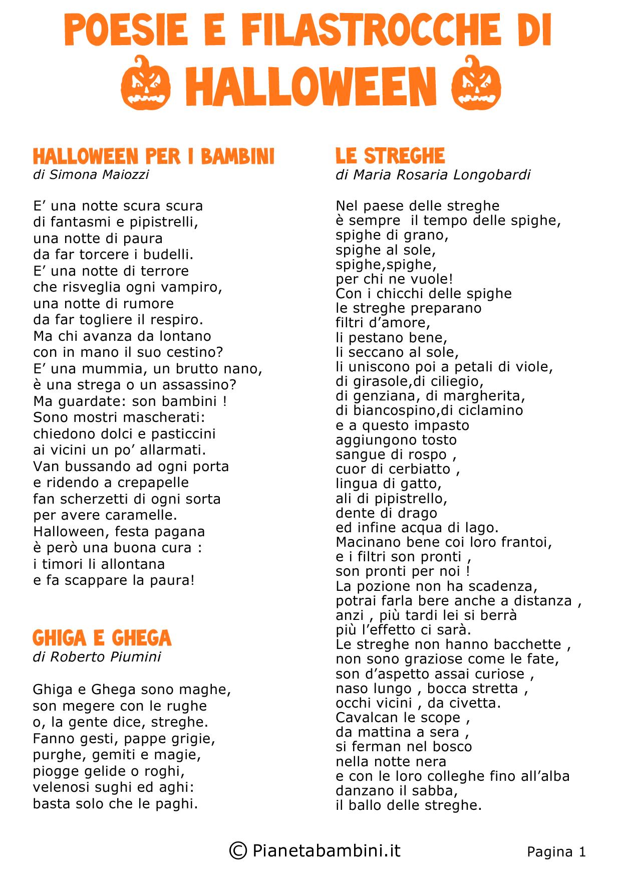 30 Poesie E Filastrocche Di Halloween Per Bambini Pianetabambini It