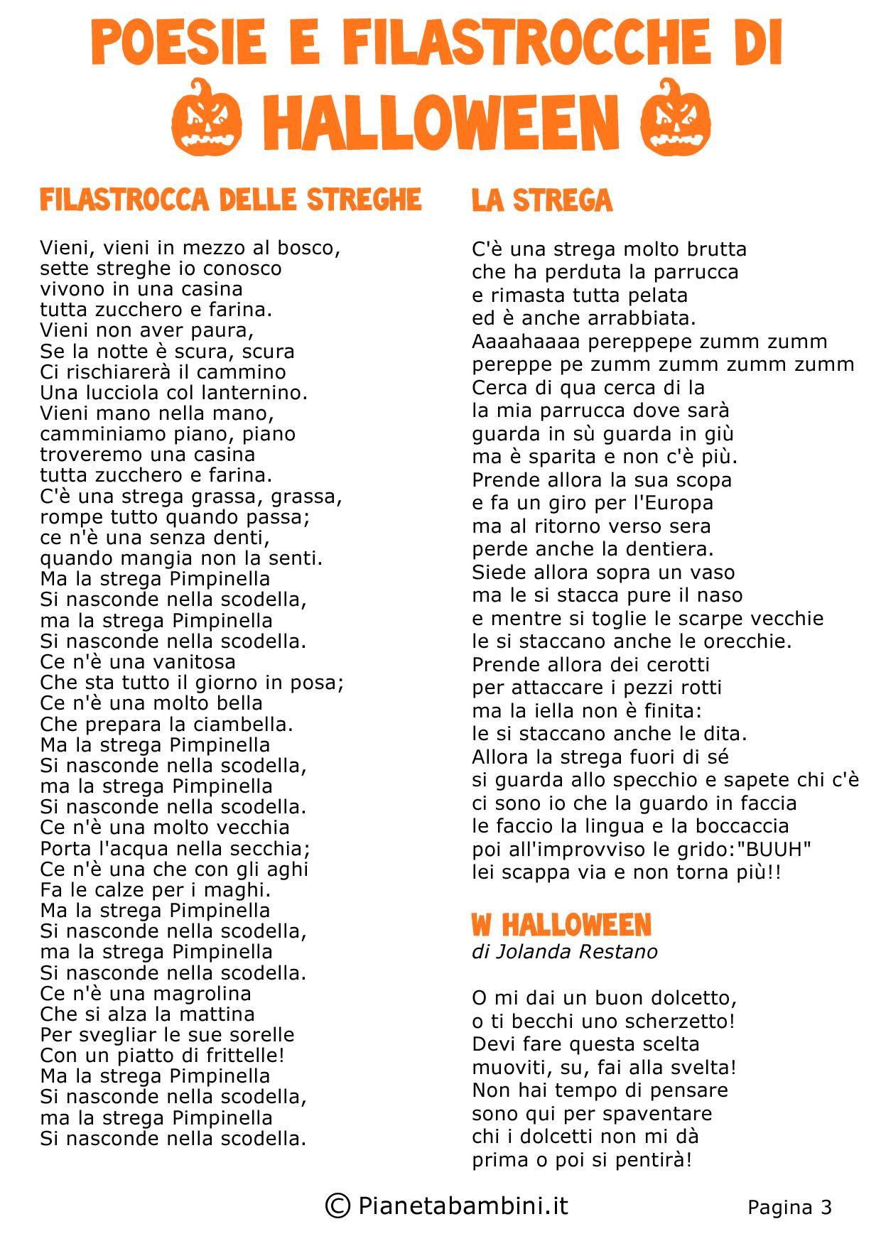 Ben noto 30 Poesie e Filastrocche di Halloween per Bambini | PianetaBambini.it KD81
