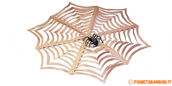Ragnatela di carta kirigami per Halloween
