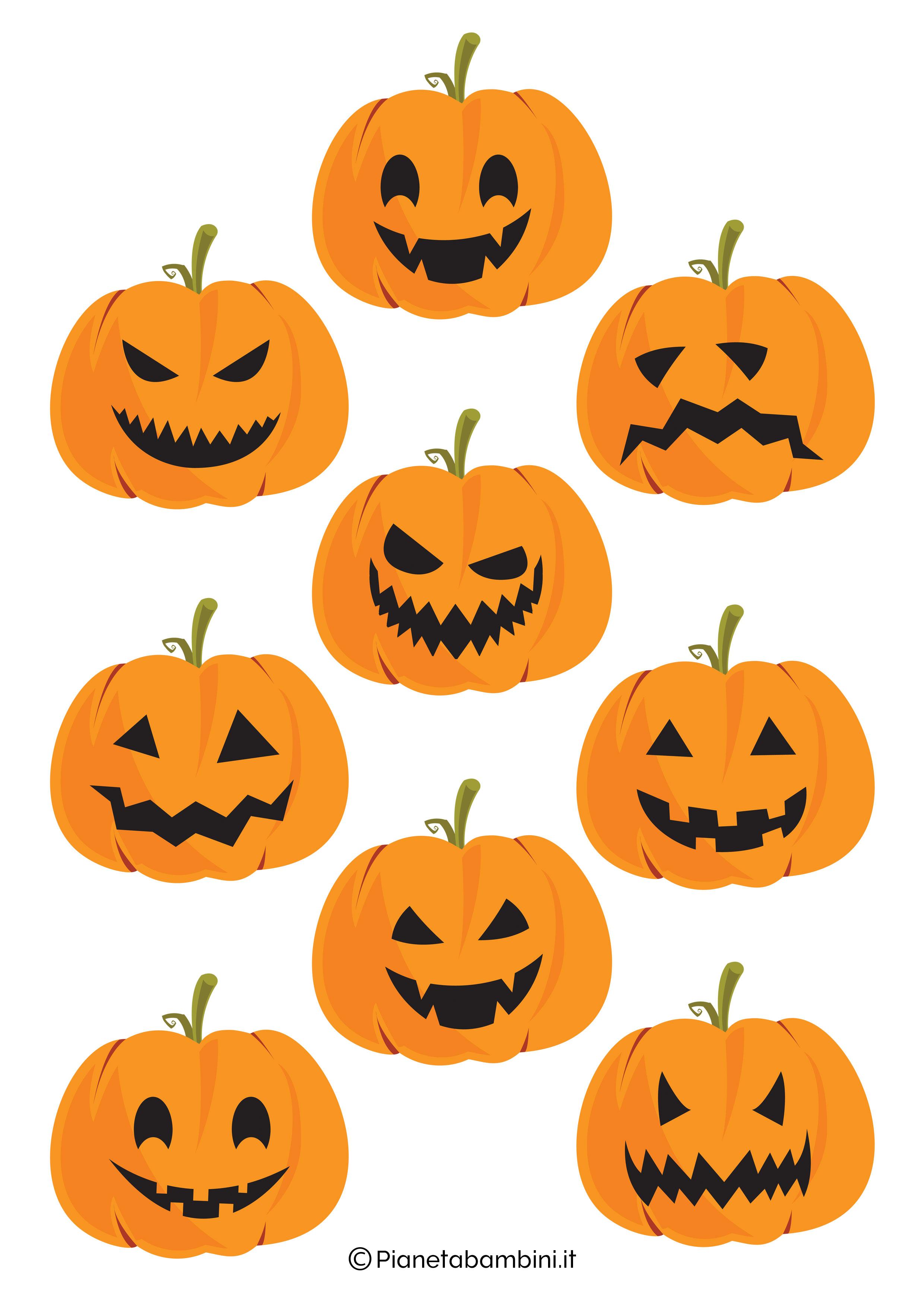 Disegno di zucca di Halloween da ritagliare 12