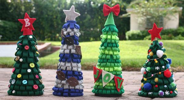 Idee per creare alberelli di Natale in feltro