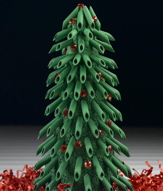Come creare un albero di Natale con pasta e spugna