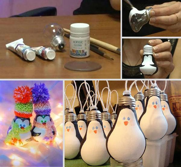 Pinguini con le lampadine come decorazioni di Natale