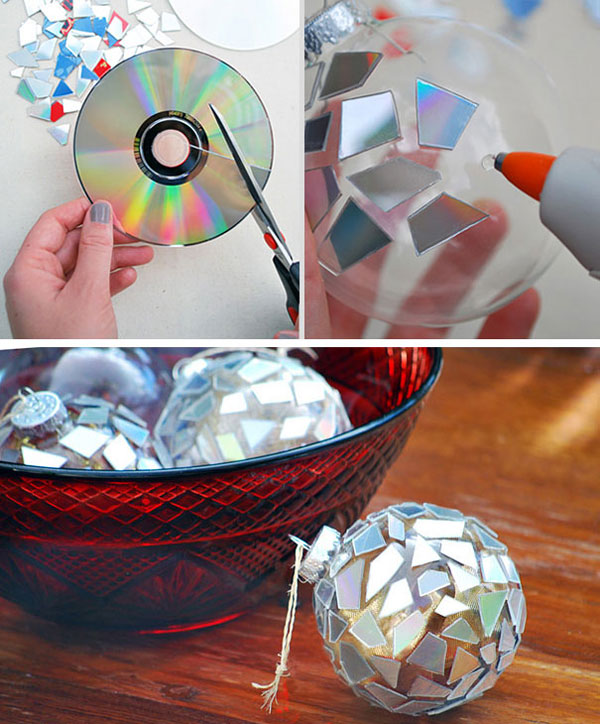 Decorazioni di Natale con vecchi cd