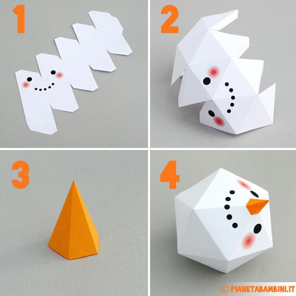 Istruzioni per la costruzione del pupazzo di neve di carta