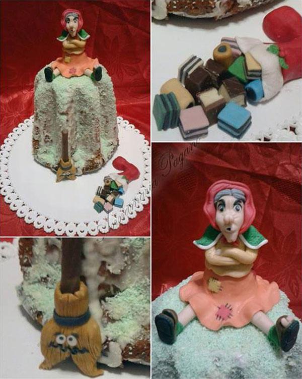 Foto della torta della Befana in pasta di zucchero n.17