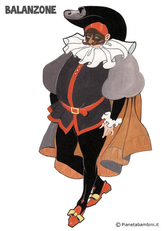 Disegno della maschera di Balanzone