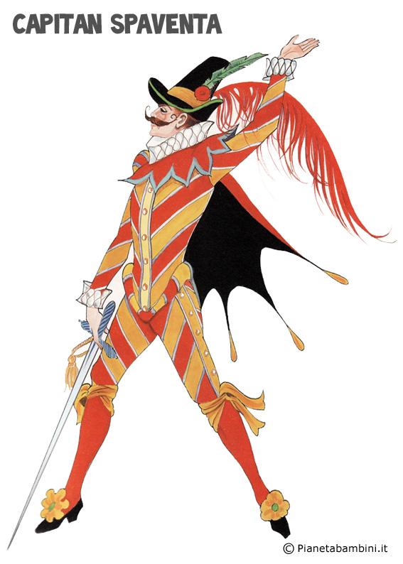 Disegno della maschera di Capitan Spaventa