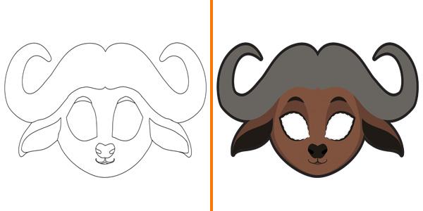 Maschera da bufalo da stampare, colorare e ritagliare
