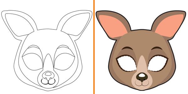Maschera da canguro da stampare, colorare e ritagliare